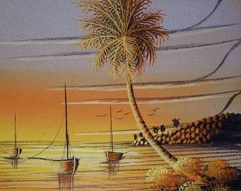 Beach sunset painting canvas oil painting beach painting caribbean island boat palm tree sea wall art home decor original painting 8x10