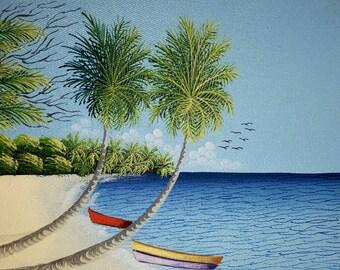 Beach landscape oil painting canvas palm tree caribbean island wall art home decor original painting 10x8