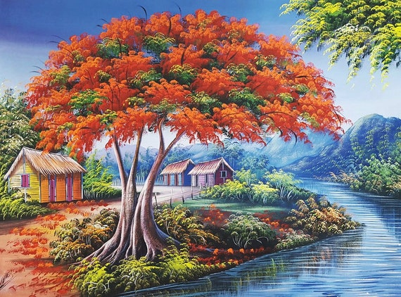Flamboyant Tree Painting Dominican Art Oil Painting Colorful Landscape River Haitian Art Tropical Home Decor Original Painting 30x40