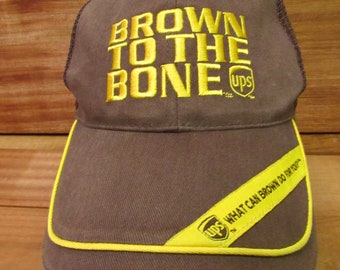 dc53d52664e Vintage 90s UPS Brown To The Bone Logistics Adjustable Strap Back Mesh  Baseball Hat OSFM