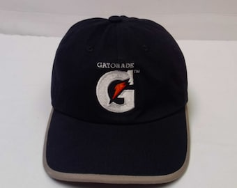 a01e3aecd86 Vtg. 90 s Gatorade Sports Drink G Bolt Athletes Black Adjustable Strap Back  Baseball Hat Cap