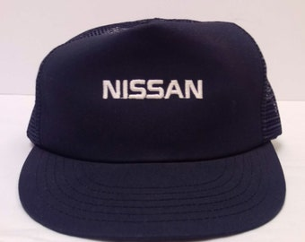 9926e69137b Real Vintage USA Made Nissan Cars Navy Strap Back Trucker Hat