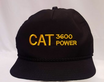 29d3441b1ab Cat 3600 Power Construction Black Adjustable USA Made Real Vintage Snap  Back Trucker Hat OSFM
