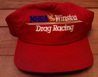 472b276924e Vtg. NHRA Winston Drag Racing Men s Red Adjustable Snap Back Trucker Hat Cap