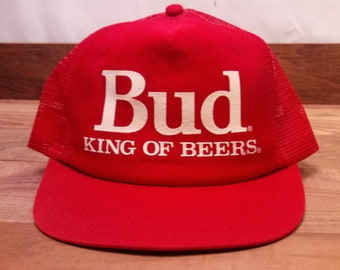 ff40d9d8bbf Vintage USA Made Bud Budweiser King Of Beers Red Adjustable Snap Back Mesh  Trucker Hat OSFM