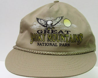 831f010653a Vintage 90 s Smoky Mountains National Park Beige Trucker Hat Mens OSFM