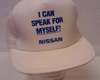 0fad771bae7 Vintage 80 s White Mesh Snap Back Men s Trucker Hat USA Nissan Auto Workers  Union