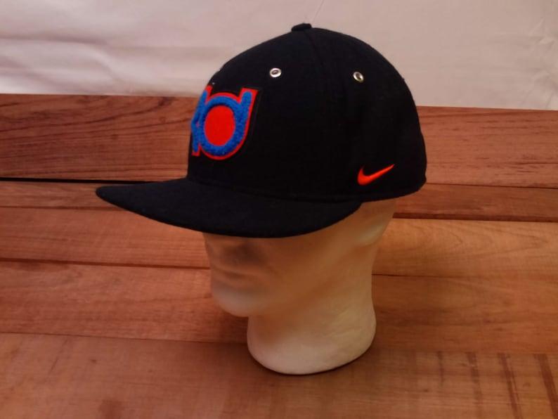912cbba9e522a Vtg. Old School Nike KD Kevin Durant Wool Blend Black Adjustable Leather  Strap Back Hat Cap