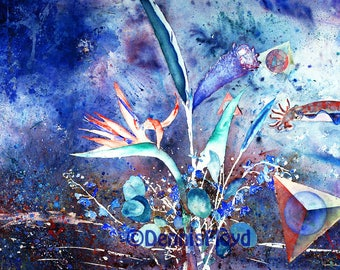 Analytical, Silly Odd Squid, Bird of Paradise, Canvas Print, Unique Fantasy, Cobalt Blue, Bizarre Surreal, Abstract Art / Sale Free Shipping
