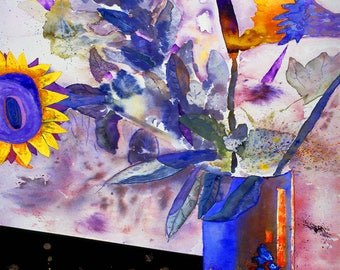 Sassy Sunflowers, Dazziling Canvas Print, Sublime, Dynamic Colors Cobalt Blue, Sapphire, Abstract Wall Art Prints 24x36, Sale Free Shipping