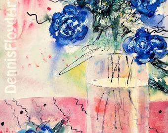 Blue, Canvas Print, Cobalt Blue Bouquet, Elegant Chic, Crystal Vase, Sublime Art Print, Watercolor Art, 24x36 Art Prints, Sale Free Shipping