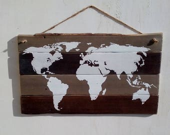 Recycled wooden Plaque Pallet-palletsign-Overview-White map