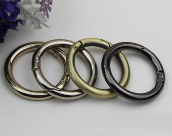 6 pcs gold Silver gun black oval spring ring clasp round split key ring O rings D rings DIY bag handabag purse hardware