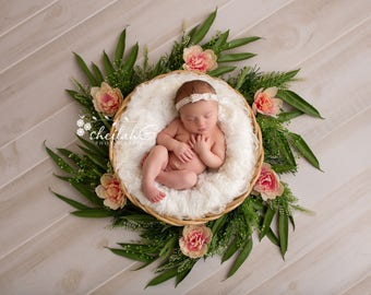 Newborn Digital Backdrop Peachy Pink Floral and Greenery Wreath or Bowl