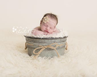 Newborn Digital Backdrop, Metal Bucket with Twine and Cream Fur on a Cream Natural Background