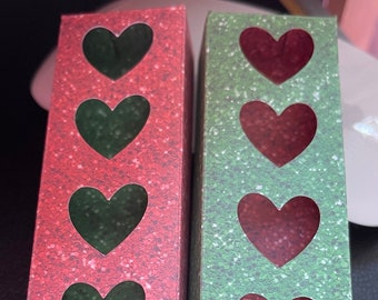 Set Of 6 Tuck-in Boxes  CHRISTMAS COLOURS Design With Heart CutOuts For Wax Melt Hearts (Holds Five )COORDINATING Snap Bar Boxes Available