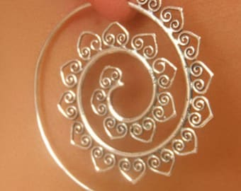 Boho Ethnic Tribal heart Swirl Hoop Earrings