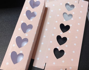 Set Of 6 Tuck-in Boxes  POLKADOT Design With Heart CutOuts For Wax Melt Hearts (Holds Five )COORDINATING Snap Bar Boxes Available