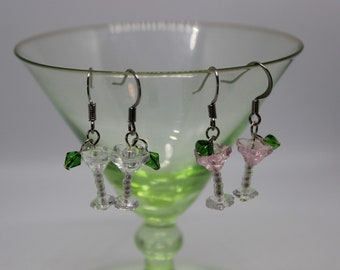 Beaded Martini cocktail earrings in pink OR clear