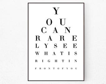Eye Chart Wall Art, Love Quote, Eye Chart, Eye Chart Print, Eye Chart Poster, Vision Test Print, Eye Chart Sign, Snellen Eye Print, Message.