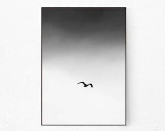 Black and White Bird Print, Minimalist Birds, Scandinavian Print Nature, Black and White Animal Wall Art, Minimalist Poster, Flock Of Birds.
