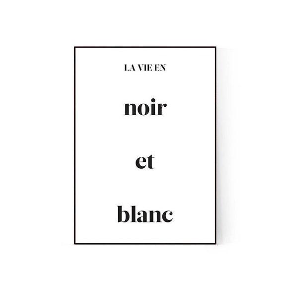 French Print French Quote La Vie En Noir Et Blanc Scandinavian Print Scandinavian Poster Fashion Poster Fashion Quote Black And White