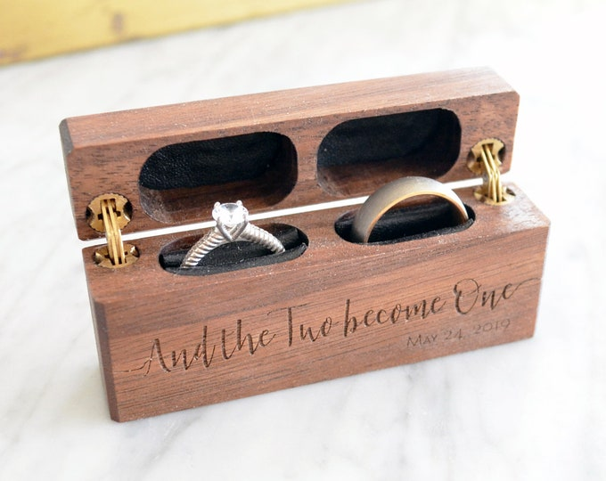 Wooden Wedding Ring Box / Ring Bearer Box / Double Ring Box / Ceremony Box - Personalize Engrave - Hinged Side by Side - Wanderweg Shop