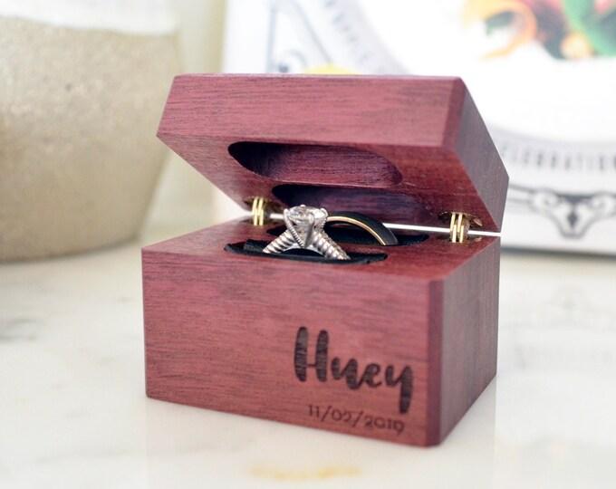 Wedding Ring Box / Ring Bearer Box / Double Ring Box - Hinged - Personalized - Wanderweg Shop