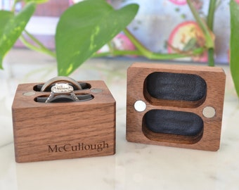 Double Ring Box / Wedding Ring Box / Ring Bearer Box - Magnetic - Personalized - Wanderweg Shop