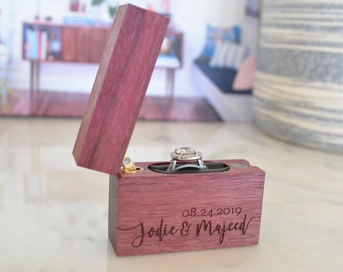 Personalized Slim Engagement Ring Box - Single Hinge - Engraved
