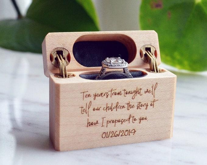 Personalized Slim Engagement Ring Box - Double Hinge - Engraved