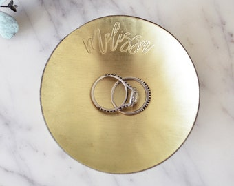 Personalized Brass Tray / Ring Dish - Round - Wanderweg Shop
