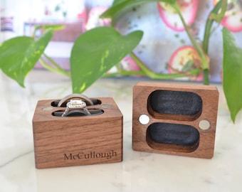 Double Ring Box / Wedding Ring Box / Ring Bearer Box - Magnetic - Personalized - Wanderweg Shop