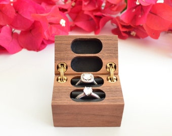 Wedding Ring Box / Ring Bearer Box / Double Ring Box - Hinged - Wanderweg Shop