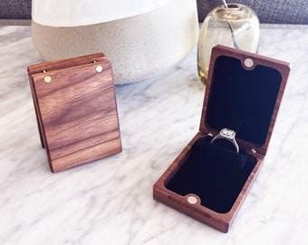 Flip-Up Engagement Ring Box / Proposal Ring Box / Wooden Ring Box / Slim Ring Box - Personalize Engrave - Wanderweg Shop