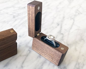 Engagement Ring Box / Proposal Ring Box / Wood Ring Box / Slim Ring Box - Personalize Engrave - Single Hinge - Wanderweg Shop