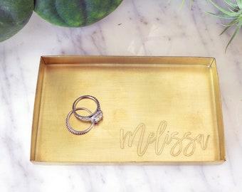 Personalized Brass Organizer Tray / Ring Dish / Jewelry Tray / Storage Tray / Valet Tray - Wanderweg Shop