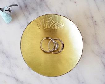Personalized Brass Tray / Ring Dish - Round - Wanderweg Shop