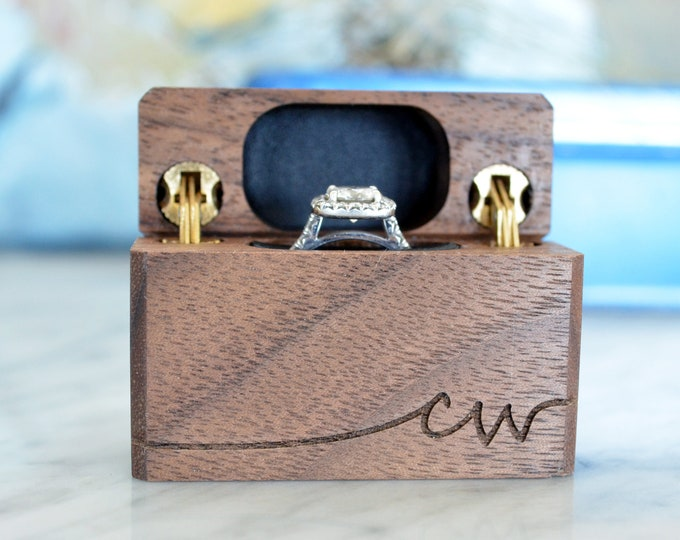 Personalized Slim Engagement Ring Box - Double Hinge - Engraved