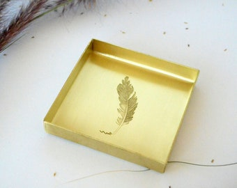 """Brass Tray with Feather Engraving / Matchstick Holder - 3"""" x 3"""""""