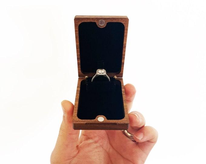 Flip-Up Engagement Ring Box / Pocket Proposal Ring Holder / Slim Wooden Ring Box - Customize Personalize Engrave - Wanderweg Shop