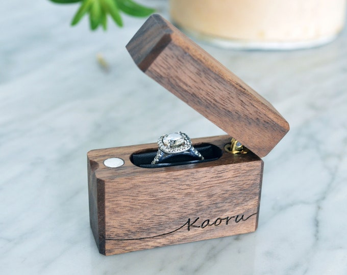 Personalized Slim Engagement Ring Box - Single Hinge - Engraved