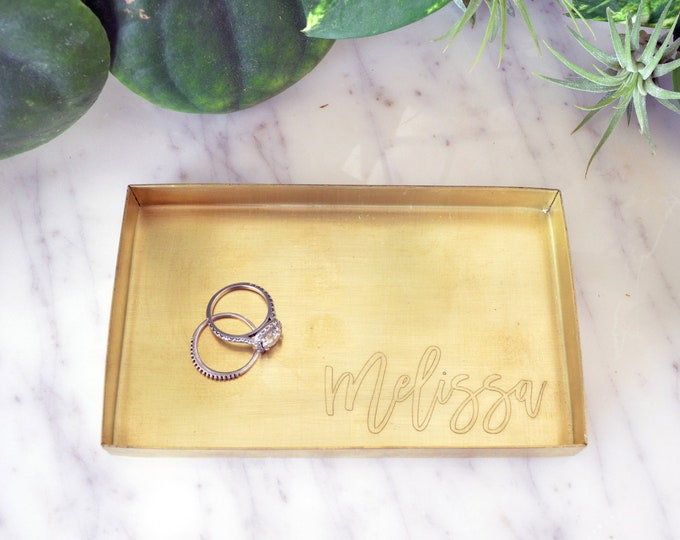 "Personalized Brass Ring Tray / Ring Dish / Jewelry Tray / Storage Tray / Valet Tray- Rectangular 3"" x 5"" - Wanderweg Shop"