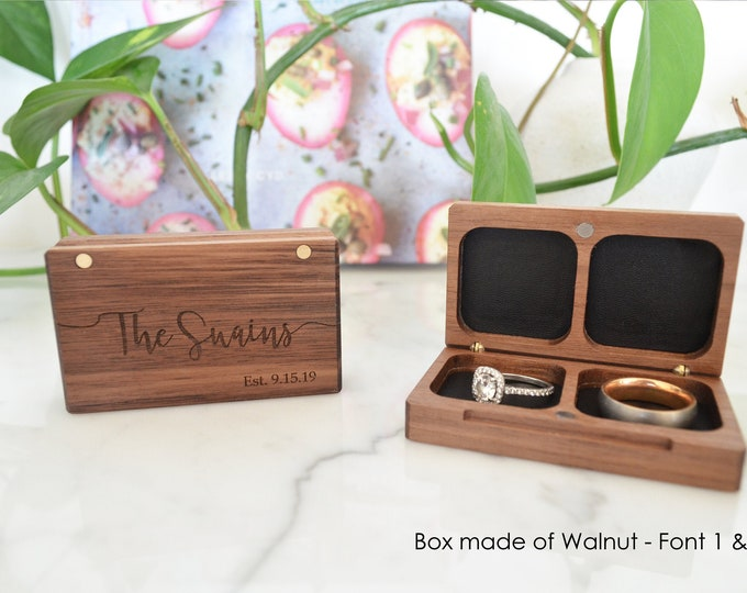 Wedding Ring Box / Ring Bearer Box / Double Ring Box - Flat - Personalized - Wanderweg Shop