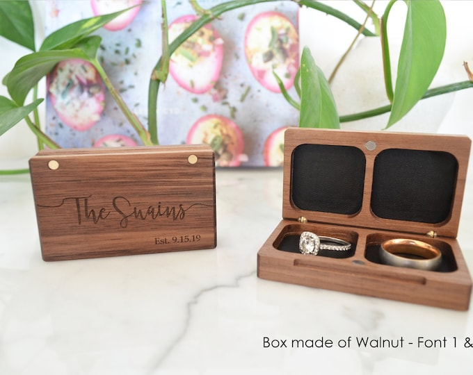 Wooden Wedding Ring Box / Ring Bearer Box / Double Ring Box / Ceremony Ring Box - Personalize Engrave - Flat - Wanderweg Shop