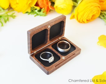 Double Ring Box / Wedding Ring Box / Ring Bearer Box - Flat