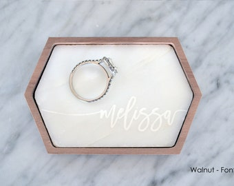 Marble Ring Dish / Holder / Tray - Stretched Hexagon - Personalized - Wanderweg Shop