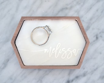 Personalized Marble Tray / Ring Dish - Stretched Hexagon - Wanderweg Shop