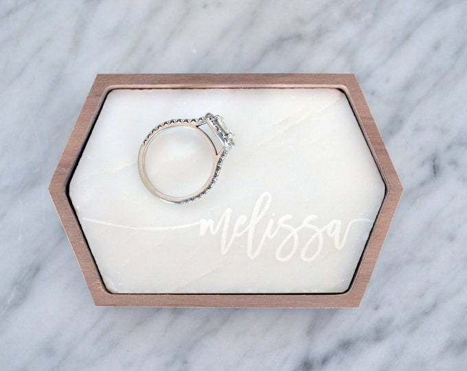 Personalized Ring Dish / Marble Tray - Stretched Hexagon - Wanderweg Shop