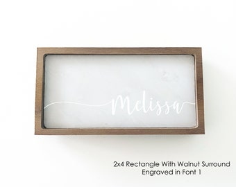 Rectangular Marble Ring Dish with Wood Surround / Ring Holder / Jewelry Tray - Personalize - Wanderweg Shop